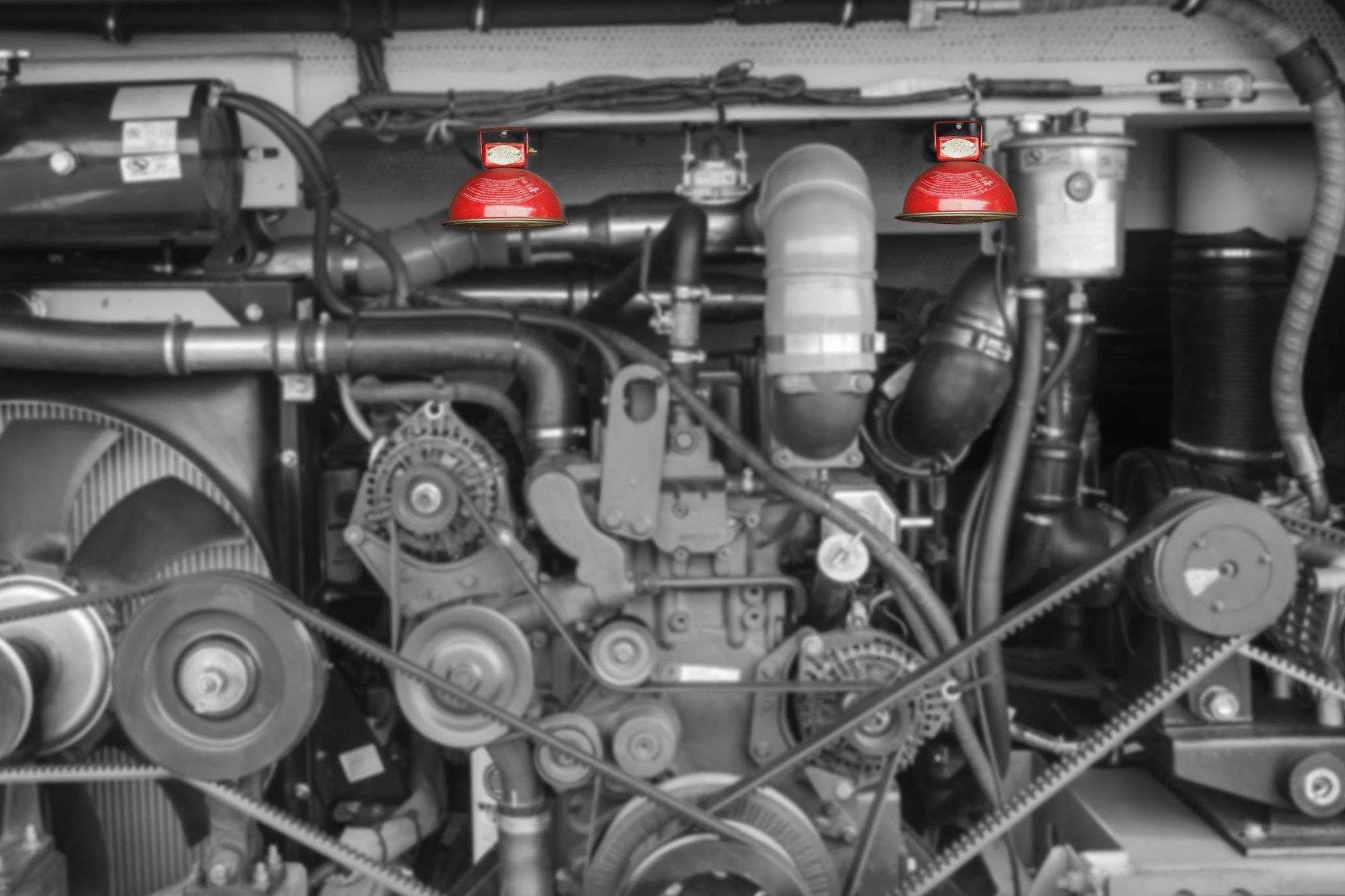 Bình chữa cháy tự động trong khoang động cơ xe King Long